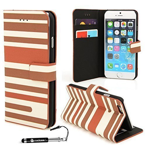 Apple iPhone 6 - Various Designs Premium Quality Leather / Hardcase / Gel / Silicone / Durable / Transparent / Clear / Wallet / Credit Card Holder Flip Case Bumper Stand Cover includes a Stylus Touch  Slim Streifen - Braun
