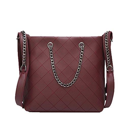 Faux Leder Medium Tote Tasche (Faux Leder Tasche Vintage Schultasche Celebrity Top Tote Griff Tasche,Red-M)