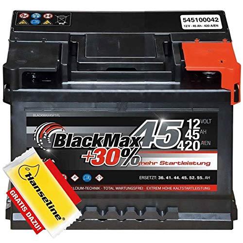 BlackMax Autobatterie 12V 45Ah Starterbatterie ersetzt 40Ah 44Ah inklusive Polfett