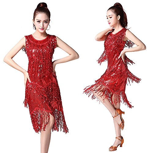 Wanson Frauen Classic Latin Dance Skirt Pailletten Cocktail Latin Party Kleid Square Dance Kleid Latin Dance Praxis Rock Tanzwettbewerb Performance - Square Dance Kleid Kostüm