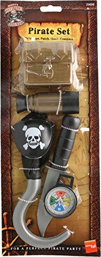 Smiffys, Kinder Unisex Piraten Set, Kompass, Haken, Messer, Augenklappe, Teleskop und Truhe, One Size, Braun, (Set Piraten)
