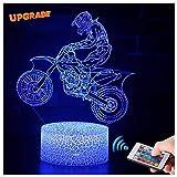 3D Motorrad Rennfahrer Lampe LED Nachtlicht mit Fernbedienung, USlinsky 7 Farben Dimmbare Touch Schalter Nachtlampe Geburtstag Geschenk, Frohe Weihnachten Geschenke Für Mädchen Männer Frauen Kinder