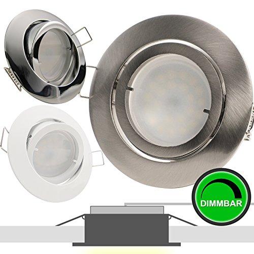 1er Set 230V LED Decken Einbaustrahler PREMIO (rund) Weiß; Modul 5W = 50W; DIMMBAR; Warm-Weiß (2700k); nur 35 mm Einbautiefe; Einbauleuchte; schwenkbar; quadratisch
