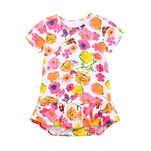 Giulogre Nouveau-né Bébé Filles Manches Courtes Combinaison Imprimé Floral Barboteuse Tenues Vêtements Adorable Romper pour 6 Mois - 3 Ans Enfant