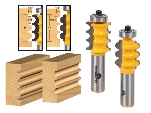 Yonico 16261 Triple Bead and Triple Flute 2 Bit Medium Molding Router Bits Set 1/2-Inch Shank by Precision Bits.com - Molding Router Bit Set