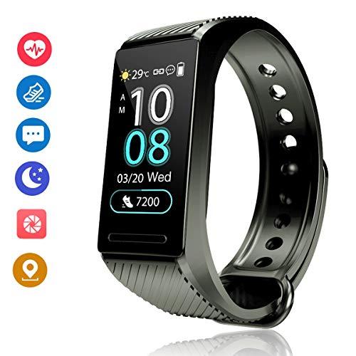 f-fish activity tracker hr orologio fitness tracker pressione sanguigna cardiofrequenzimetro da polso uomo donna impermeabile smartwatch sonno braccialetto (nero)