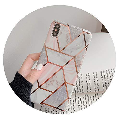 Weinlese-Marmor-Fall für iPhone X Xr Xs Max 7 8 Plus weiche TPU Schutzhülle aus Silikon-Kästen für iPhone 8 7 6 6S Plus-Zurück Capa, Pj Rosa, für Ix Xs (5.8Inch) (Größe Pj 6 Mädchen)