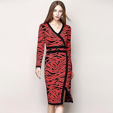 De las mujeres del leopardo de punto vestido V - cuello largo - de manga atractiva , picture color , l
