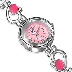 Fashion Alloy Silver-Tone Pink White Round Dial Womens Bracelet Watch