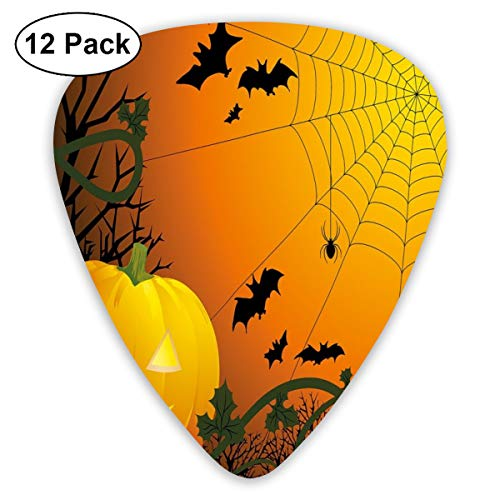 act Art Colorful Designs,Halloween Themed Composition With Pumpkin Leaves Trees Web And Bats,Unique Guitar Gift,For Bass Electric & Acoustic Guitars-12 Pack ()