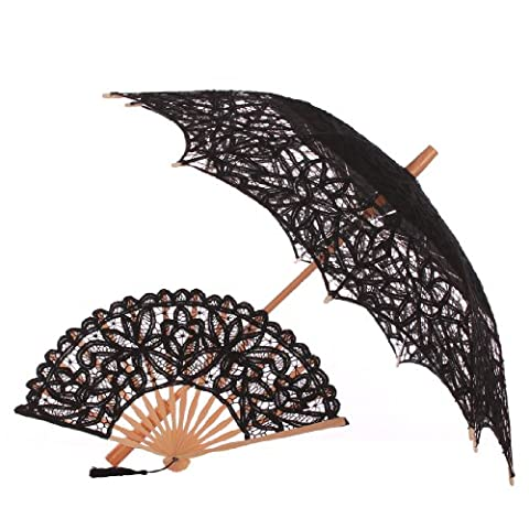 Topwedding Embroidery Cotton Wedding Parasol and Bridal Folding Lace Fan