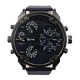 Malloom® hombres lujo militar ejército dual tiempo cuarzo dial grande reloj de pulsera azul