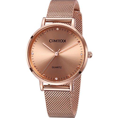 Comtex Damen Uhr Analog Quarz mit Rose Gold Edelstahl Armband Wasserdicht K6441L-RG