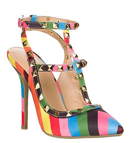 Arc-En-Ciel Womenâ s Schuhe Verzierte Schnalle High Heel Sandale-Regenbogen-US15