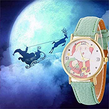 Christmas Quartz Watches,ulanda-eu Xmas Santa Claus Creative Pattern Analog Lady Wrist Watch Female Watches On Sale Watches For Women,round Dial Case Comfortable Leather Wristwatch Ss5 (Mint Green) 1