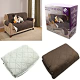 FUNDA CUBIERTA PARA SOFA REVERSIBLE CUBRIR SOFA SILLON COLOR MARRON Y BEIGE PROTECTOR SOFA 2 PLAZAS...