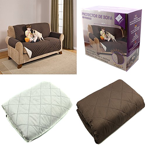 FUNDA CUBIERTA PARA SOFA REVERSIBLE CUBRIR SOFA SILLON COLOR MARRON Y BEIGE PROTECTOR SOFA 2 PLAZAS 162 CM
