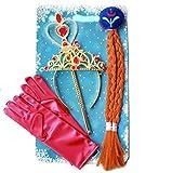 Frozen Kinder Prinzessin Set Eiskönigin Anna mit Perücken-Zopf Diadem Krone Feenstab Handschuhe
