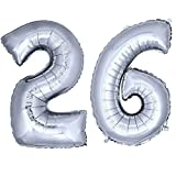 DekoRex® Folienballon Zahlenballon Heliumballon Luftballon Geburtstag Deko 120cm Zahl Silber 26