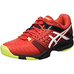 Asics Gel-Blast 7, Zapatillas de Balonmano para Hombre, Multicolor (Vermilion/White/Safety Yellow), 40.5 EU