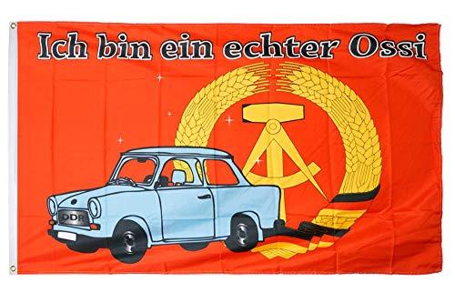 Flaggenfritze® Flagge/Fahne Ich Bin EIN echter Ossi - 90 x 150 cm