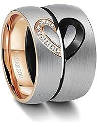 Besteel Stainless Steel Ring for Men Women Love Heart Rings Wedding Engagement Ring Couples His & Hers
