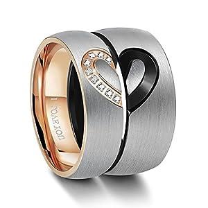 BE STEEL Edelstahl Ring für Herren Damen Liebe Herz Ringe Hochzeit Verlobung Ringe Ewigkeit Paare Sein & Ihr