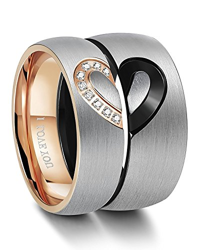 Besteel Anillo Acero Inoxidable Hombres Mujeres Amor