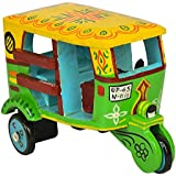 Handmade Colorful Push And Pull Toys Wooden Auto Rickshaw For Kids And Home Decoration Purple Height 3.5 Inch By Fine Craft India