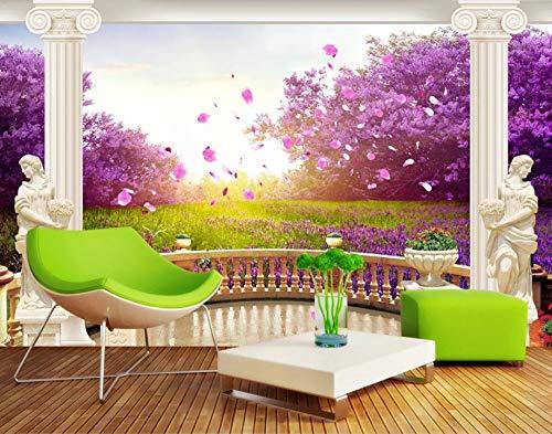 Murale Tapete für Garten, Motiv: Cherry Blossom 3D-Hintergrund, Tv Sofa mit Hintergrund, personalisierbar (Prinzessin Blossom Cherry)