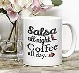 Funny Dance Class tazza da caffè salsa all Night all Day Salsero Gift salsa Dancing regali Dance danza latina Friend mug Dance Recital regali, 311,8gram, bianco