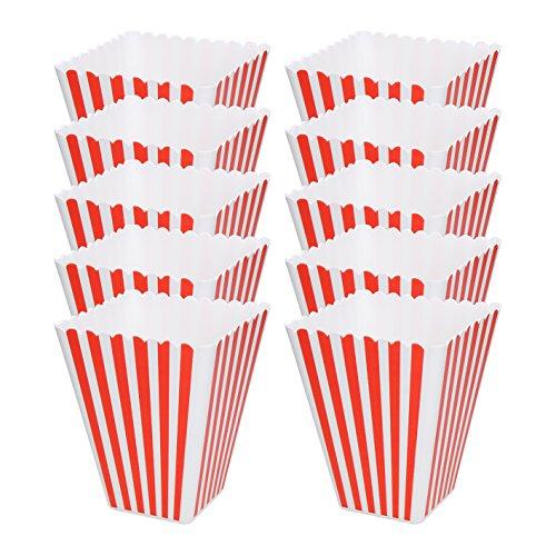 elasto Popcornschale Hollywood Popcorn-Box Wiederverwendbare Popcorntüte aus Kunststoff Gestreift Rot-Weiß (10)