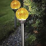 Solarleuchten Roma BUVTEC 2er Set in chrom / amber 285 mm, inkl. Sensor und LED
