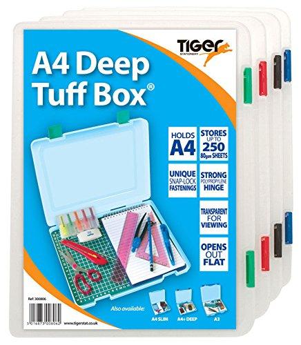 4x A4Tief Aufbewahrungsbox Tuff Box Mehrzweck-Veranstalter Utility Datei (Utility Tief Box)