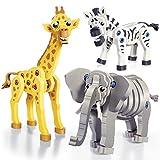 Herpa Toys 85BC-24001 Bloco-Figuren: Zebra, Giraffe und Elephant
