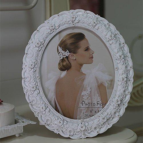 XBR Marco oval de boda estilo Retro Europea, marco de la foto, marco de la foto de pastoral blanco...