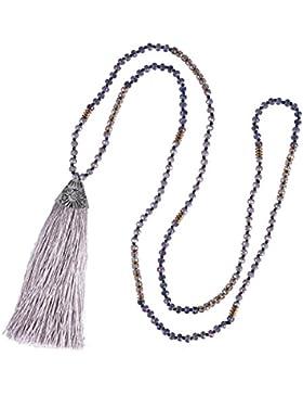 Kristall Wulstig Halskette Lange Strand Wulstig Kette Handgefertigt Frau Quaste Strand Halskette