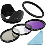 XCSOURCE® Essential 58mm UV CPL FLD Filter Set + Lens Hood + Adapter + 3-slot Filter Case + Cloth for Canon Powershot SX50 HS SX40 IS LF297