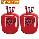 SPAR-SET: 2x Helium Ballongas Einwegflasche (Gesamt 0,840 m³!) für ca. 100 Luftballons mit ø 23cm - Geburtstag Hochzeit Party