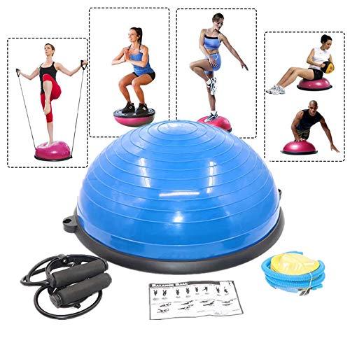 KOUPA Balance-Trainer-Stabilitätshalbball mit Widerstandsbändern, Pump- und Trainingsanleitung für Ganzkörper-Heimtraining oder Fitnesstraining