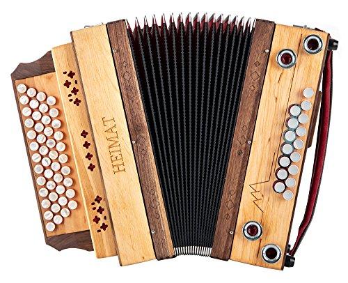 Heimat 4/III Harmonika G-C-F-B Erle (4-reihig, 3-chörig, aus Erlenholz mit Holzverdeck, X-Bass, 16 Helikon-Bässe, inkl. Trageriemen, Balgschoner und Koffer) Erle