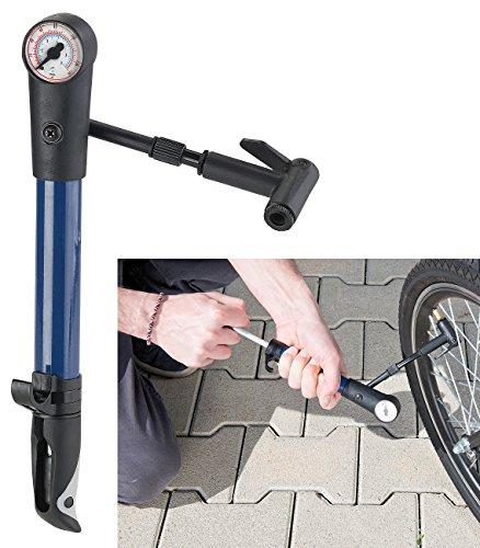 AGT Fahrrad Luftpumpen: Mini-Fahrradpumpe für Rennräder & Mountainbikes, Manometer bis 9 bar (Fahrrad-Luftpumpe mit Manometer)
