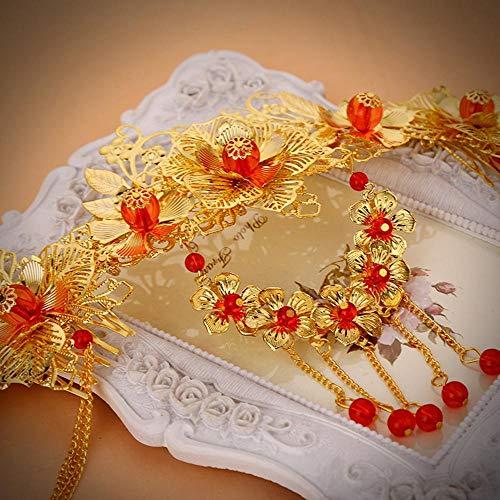 Littlefairy Braut Kopfschmuck Gold-rot Chinesische Hochzeit Haar Ornamente Kostüm Kleid Zubehör