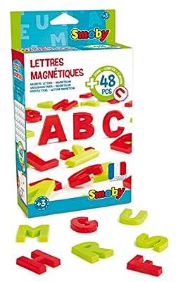 Smoby Toys, 430100, Pack de 48 Lettres Magnétiques Majuscules, 24 Lettres Coloris Rouge, 24 Lettres Coloris Vert
