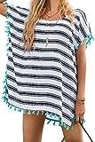 L-Peach Donna Copricostumi Parei per Costume da Bagno Nappa Stripes Chiffon per Spiaggia Bikini Cover Up