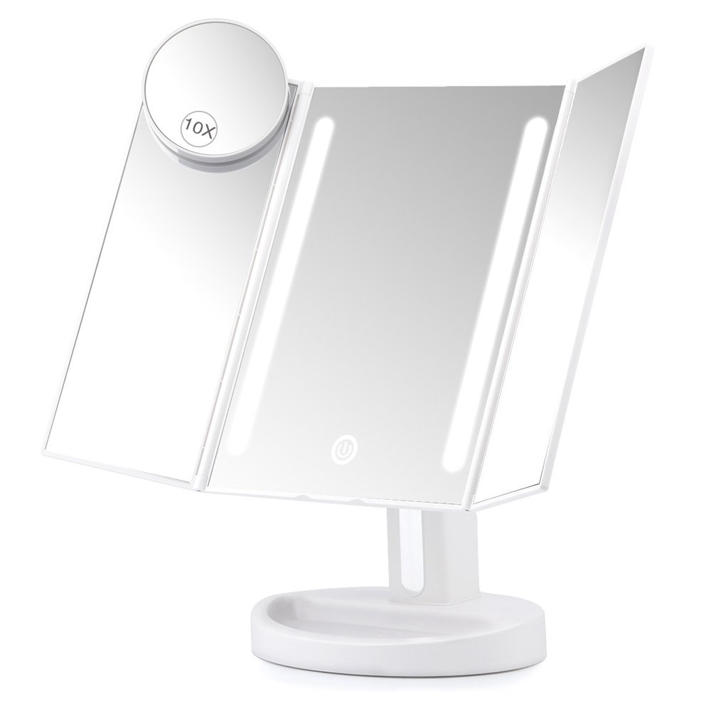 Herwiss Lighted Vanity Makeup Mirror With 10x Magnifying ...