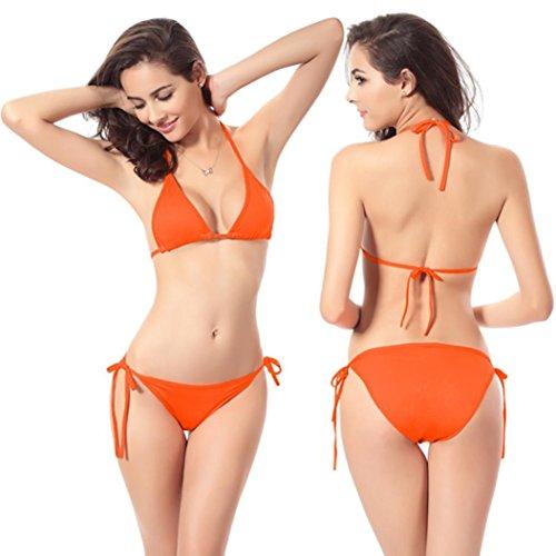 Triangle Tanga Bikini, ubabamama Frauen Sexy brasilianisches Trennt Bademode Seite Krawatte Strappy Badeanzug Neckholder Baden Beachwear (Seite Krawatte Retro Bikini)