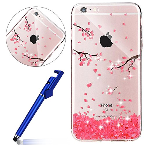 Cover per iPhone 8 plus 5.5, Custodia iphone 7 plus, iphone 8 plus Custodia Silicone, MoreChioce Moda Funny Cute Fiore Animal Painting Colorato Custodia, Ultra Slim 3d Gel Soft Silicone Gomma Morbido  Fiori di ciliegio,Strass Diamante Fiore