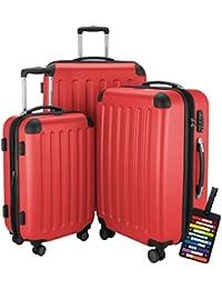 Hauptstadtkoffer® Set di valigie 49+82+128 litri con un lucchetto TSA Seria SPREE (Colore Rosse con 1 ciondolo per la valigia)