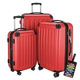 HAUPTSTADTKOFFER® Hartschalen Koffer SPREE 1203 · NEU 4 Doppel-Rollen · MATT · TSA Zahlenschloss · + KOFFERANHÄNGER (Set, Rot)